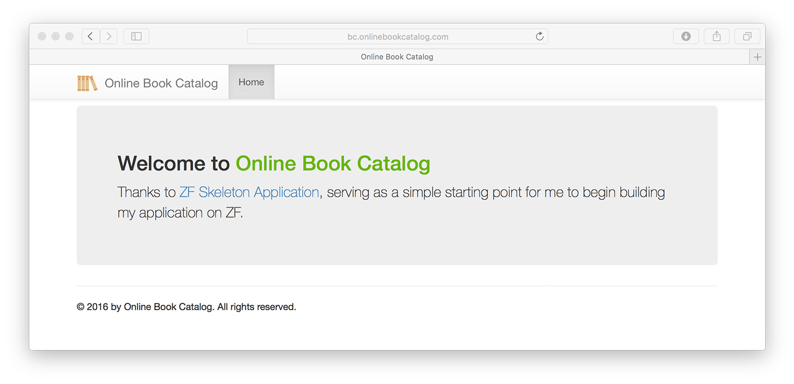 Customized look of the Online Book Catalog.