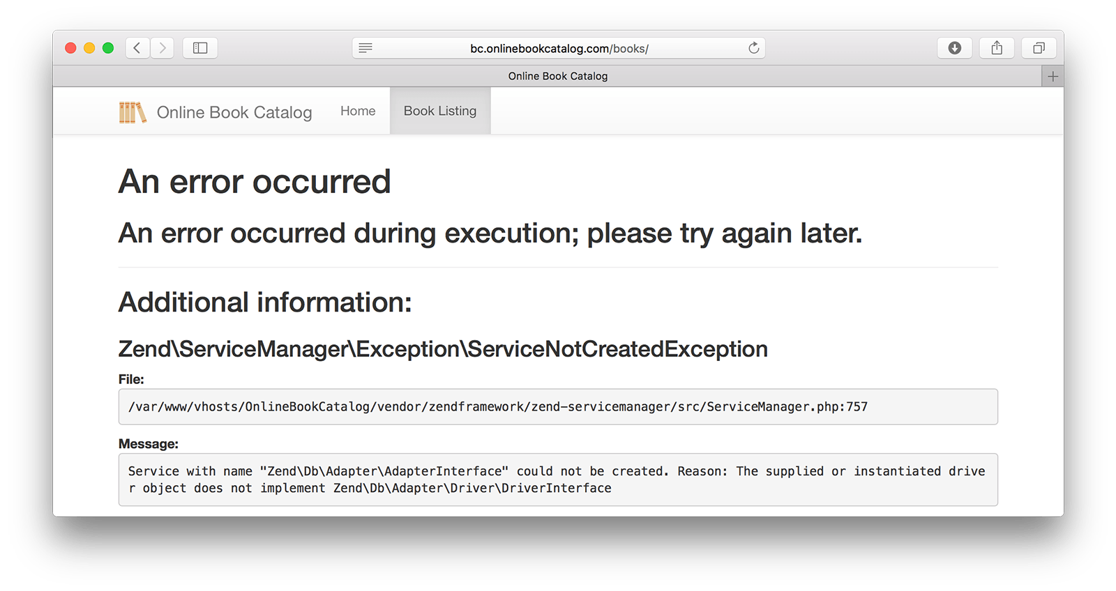 Service not created exception